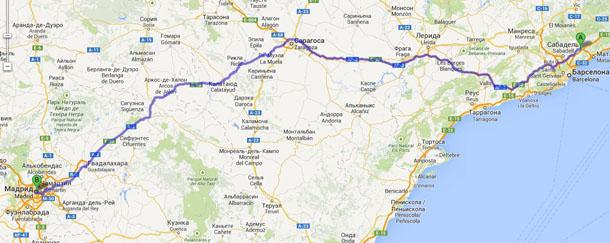 Маршрут между Коста-Брава и Мадридом