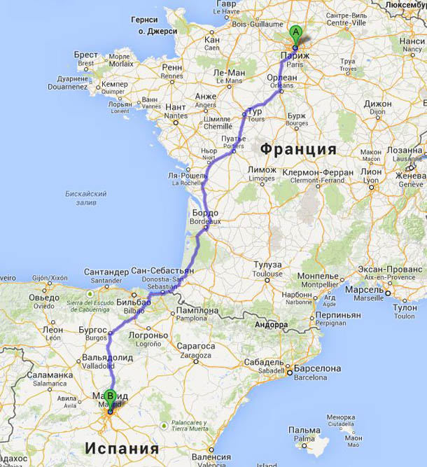 Один из маршрутов Париж-Мадрид
