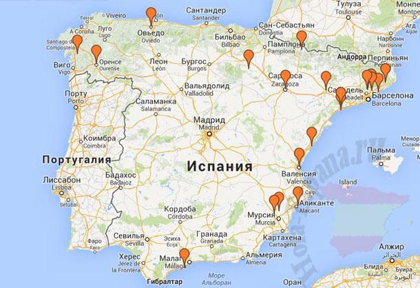 Испанские термальные курорты на карте